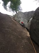 Layback fun, just before the crux.
