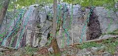 Rock Climbing Photo: Jersey Volunteers - Right side overview of routes:...