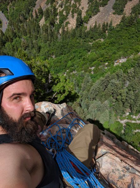 Top of Pitch 3 atop a spire right after the last badass roof!