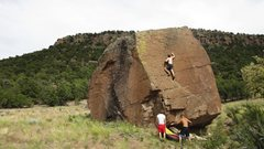 Rock Climbing Photo: balancing up the crimpy scooped slab dihedral on N...