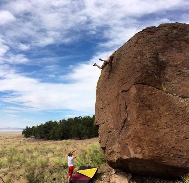 Rock Climbing Photo: Flyin atop the Novocain drain. photo cred to Joe Z...