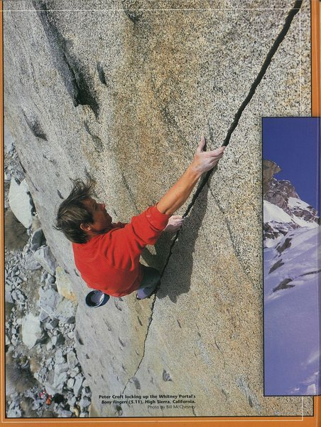 "Peter Croft soloing""Bony Fingers,"" feature in Rock and Ice, September 2002. Photo by Bill McChesney"