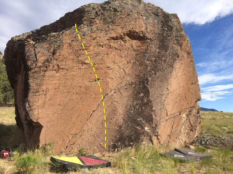 Rock Climbing Photo: Climbs the prominent orange face left of the black...