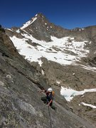 Rock Climbing Photo: Easy slab moves in the middle of the North Ridge.