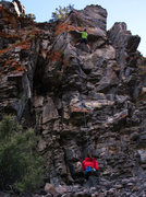 Rock Climbing Photo: The longish route on the wall opposite the gully f...