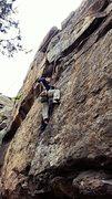 Rock Climbing Photo: John stops to chalk up on Rat's Nest.