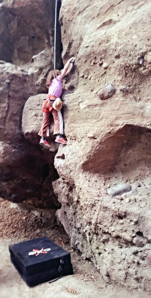 Rock Climbing Photo: My youngest makes her 1st moves on Strawberry Jam.