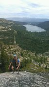 Rock Climbing Photo: Topping out Insidious Crack on Donner Summit