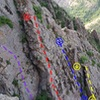 East Face Slab as seen from the Joirney Home on the Dark West Face. <br> Yellow = Hot Patootie Bless My Soul<br> Blue = Moss Lords of the Wasatch<br> Purple = unfinished project<br> Red = Super .8<br>