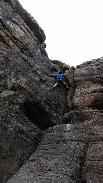 Chris Baker climbing Caramel.
