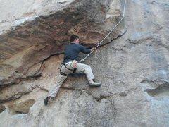 Rock Climbing Photo: John traverses the underclings.