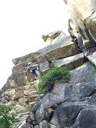 Rock Climbing Photo: Kiera pulling the crux roof.