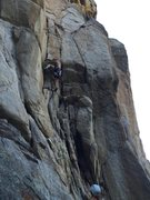 Rock Climbing Photo: Pulling into the dihedral.