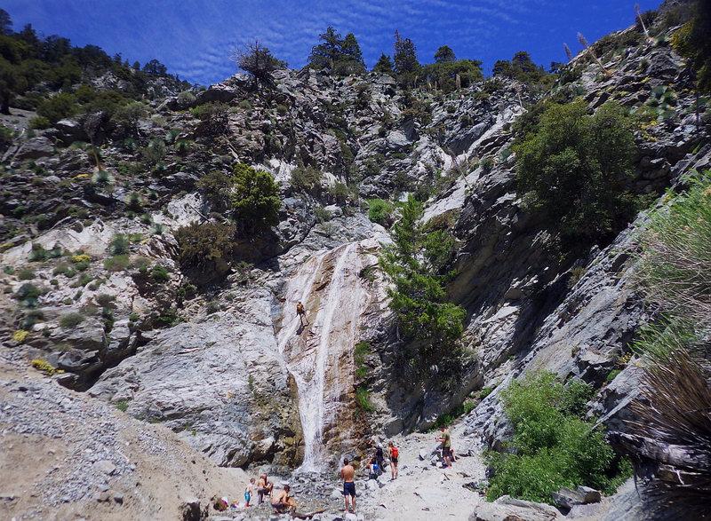 Cold splish splashing down a local canyon on a hot day.  San Antonio Falls.  19 Jun 2016.