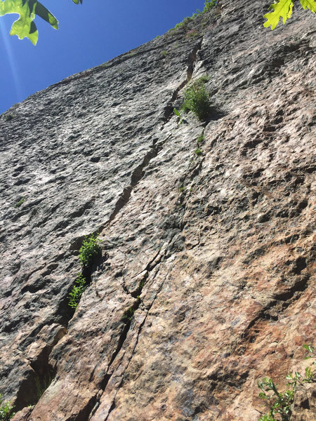 Start of jam crack route, standing at the base of the wall. 6/19/2016