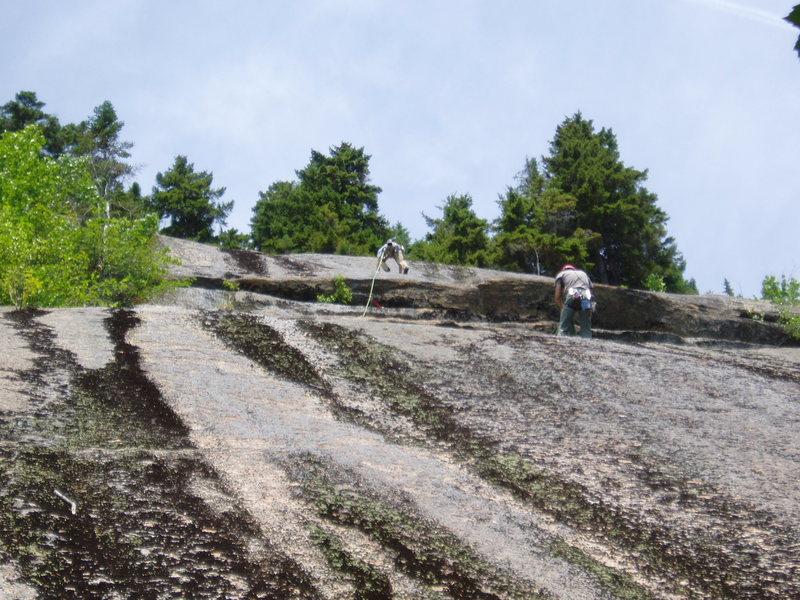 Rock Climbing Photo: Reaching the P2 belay