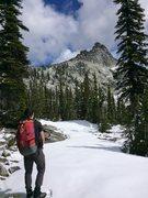Rock Climbing Photo: Zach soaking in the view of Harrison peak before o...