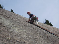 Rock Climbing Photo: A Smiling OW Clips Bolt#1 on False Holy Smoke