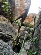 Rock Climbing Photo: Third rap is hard to find. We slung a large rock a...