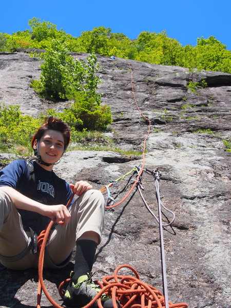 """Belaying Dad on P4 (the """"direct up"""" variation)"""