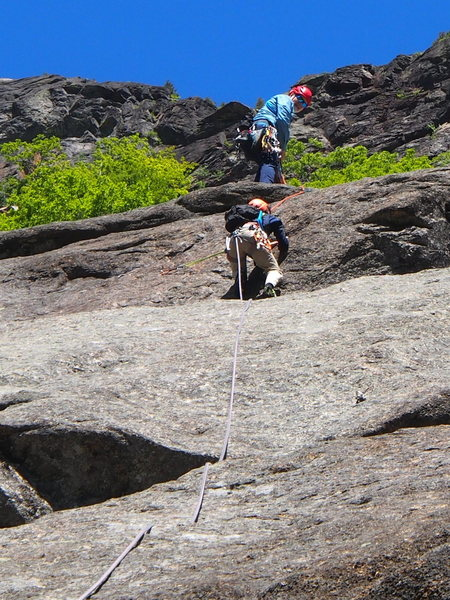 """Rock Climbing Photo: OW moves up the """"headwall"""" at end of P1,..."""