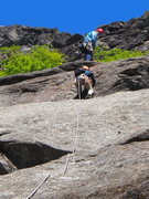 "Rock Climbing Photo: OW moves up the ""headwall"" at end of P1,..."
