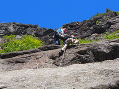 """Rock Climbing Photo: OW finishing the """"headwall"""" at top of P1"""
