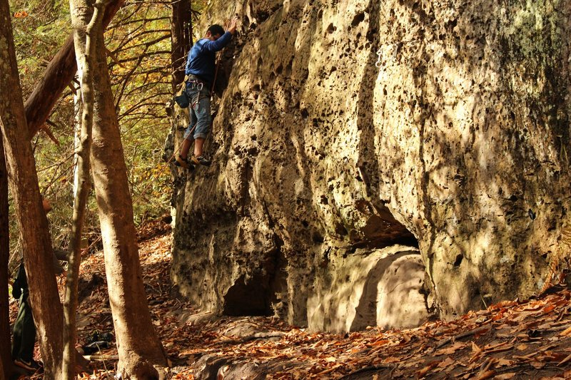 Rock Climbing Photo: Climber practicing leading/cleaning.