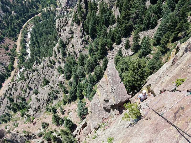 Rock Climbing Photo: Looking down from the top of the last pitch. The p...
