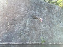 Rock Climbing Photo: Jenkins reaching the alcove from the low line on t...