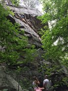 Rock Climbing Photo: My son, Jace at the end of the crux, me on belay. ...