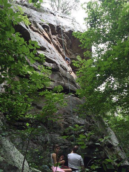 Rock Climbing Photo: Jace starting the traverse.