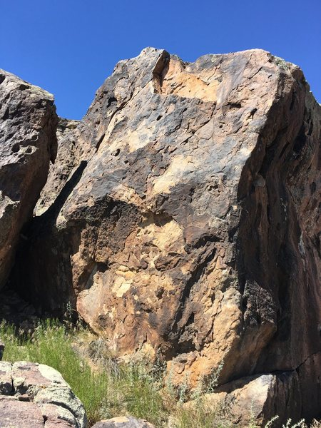 The east face of Wanton Boulder. You can see that a chunk ripped off while climbing a few years back but the rest SEEMS pretty solid.