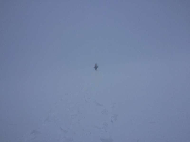Whiteout on the descent.  March 2015.