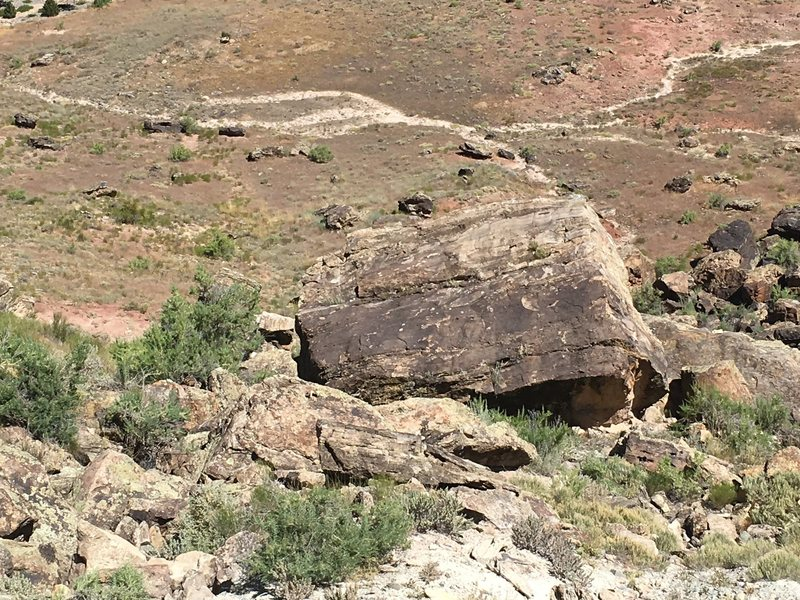 This is the view of the boulder from Geiser Boulder, just up the hill.