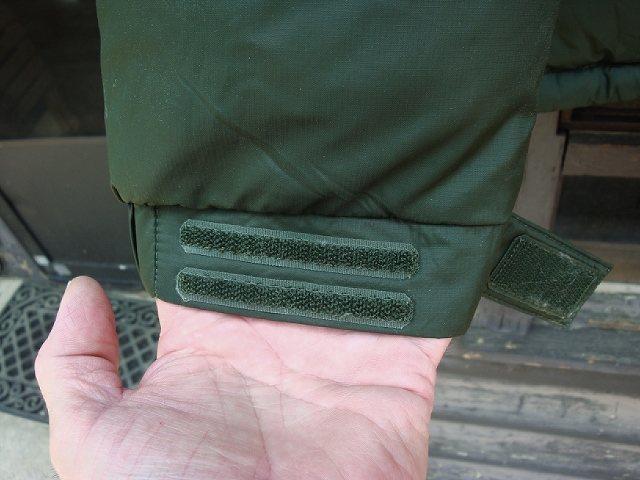 Velcro closure cuff with inner knit cuff.