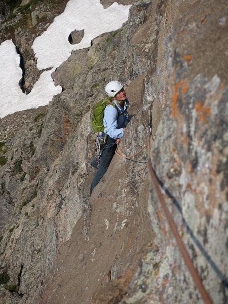 Rock Climbing Photo: Dede on the P3 traverse.