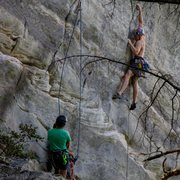Rock Climbing Photo: Joe heading up Phantom,  Austin and Blake on Encor...