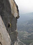 Rock Climbing Photo: Another look at the double pendulum. Thin crack ab...
