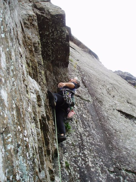 Mark studying the overhang at the start of P2