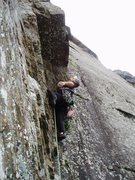 Rock Climbing Photo: Mark studying the overhang at the start of P2