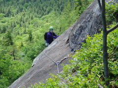 Rock Climbing Photo: Ailie Byers looking at the traverse at end of P3