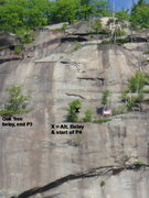 Rock Climbing Photo: Top of climb, showing alternative belay spot for l...