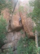 Rock Climbing Photo: Most of the route, about to enter the crux.
