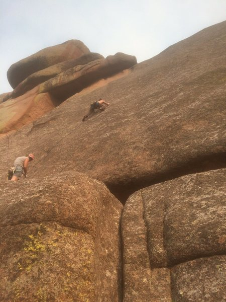 In the mid-route crux (had to bail here in fact).