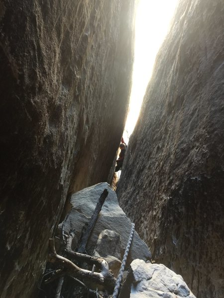 Rock Climbing Photo: Royal following P2, you climb out from placing gea...
