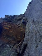 Rock Climbing Photo: Nick Weinberg on the second pitch crux. Notice mun...