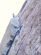 "Rock Climbing Photo: S.M. reaches ""THE"" flake; M.M. belays ab..."