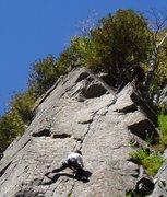 Rock Climbing Photo: Photo 7 - S Matz follows - near / at crux