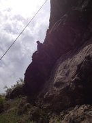 Rock Climbing Photo: At the crux, low on the route.